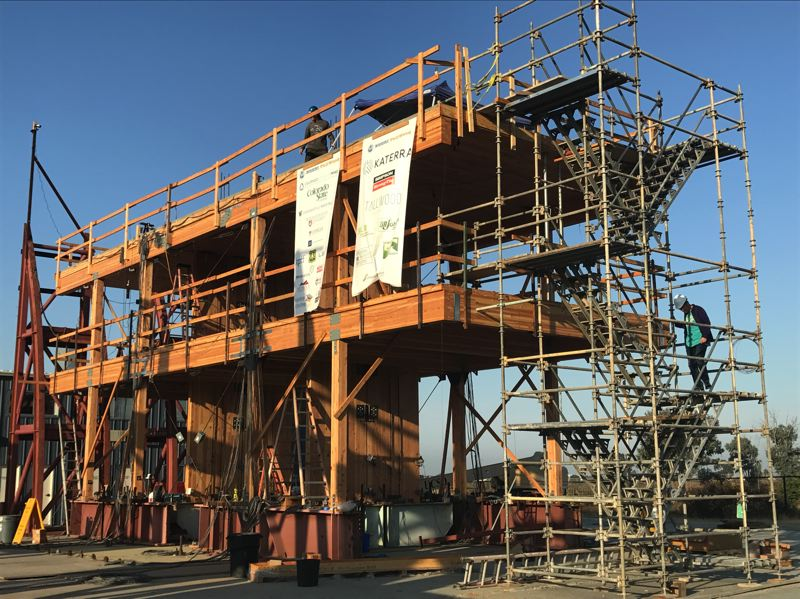 SUBMITTED: ANDRE BARBOSA, OREGON STATE UNIVERSITY - Constructed with cross-laminated timber panels and a rocking wall system, this structure will be subjected to seismic tests at the National Hazard Engineering Research Infrastructure site at UC San Diego this month.