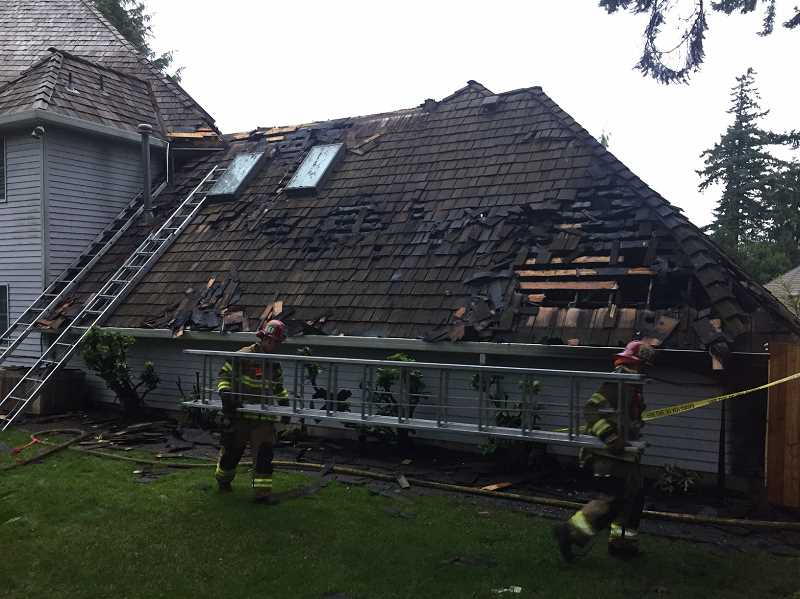 TVFR - An attic above the garage appeared to be the source of a fire on Lexington Terrace in West Linn.