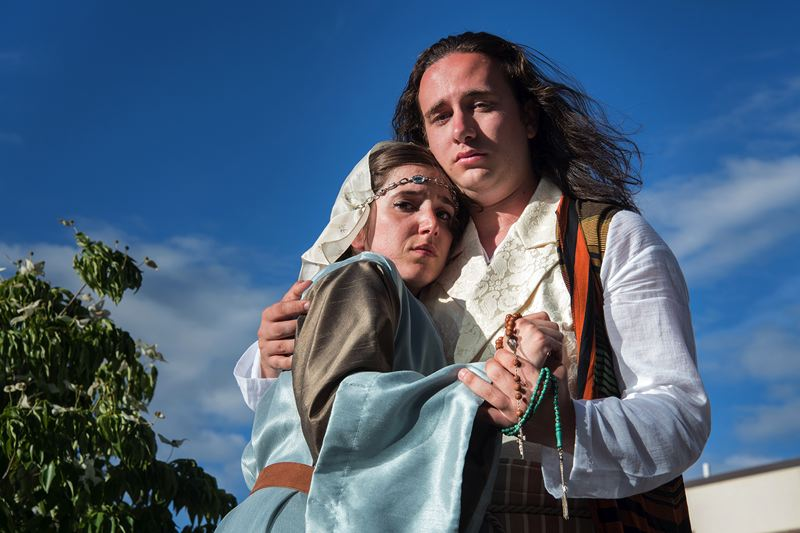 COURTESY PHOTO: CASEY CAMPBELL PHOTOGRAPHY - Arianne Jacques and Nicholas Granato are Juliet/Layla and Romeo/Majnun in Bag&Baggage's summer production.