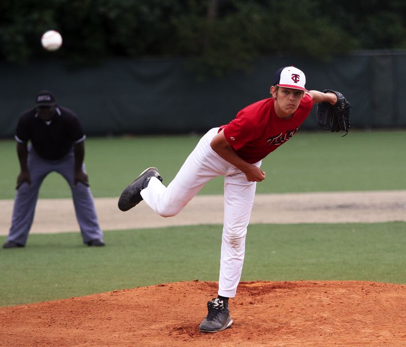 DAN BROOD - Andrew Carter threw a one-hit shutout, as he helped the Tigard Twins score a 10-0 win over David Douglas during a first-round game of the Futures tournament, held at Wilsonville High School.