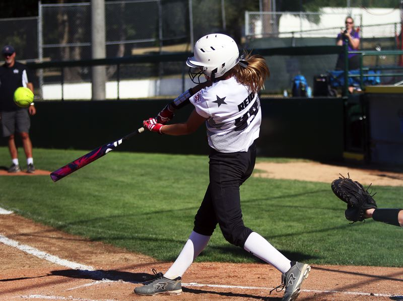 DAN BROOD - Tigard/TC's Makenna Reid puts her bat on the ball during the win over South Beaverton.