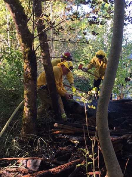 SUBMITTED PHOTO: LAKE OSWEGO FIRE DEPARTMENT - Firefighters mop up the remnants of a small brush fire that burned a 50-foot-by-50-foot area Saturday evening near Foothills Park in Lake Oswego.