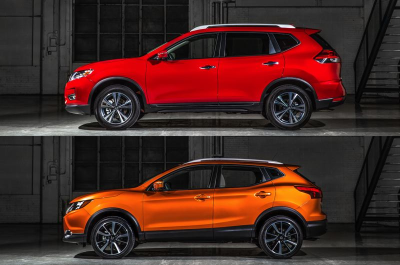COURTESY NISSAN-USA - The new Nissan Rogue Sport (bottom) is not all that much smaller than the compact Nissan Rogue, which helps explain its large interior for a subcompact crossover.