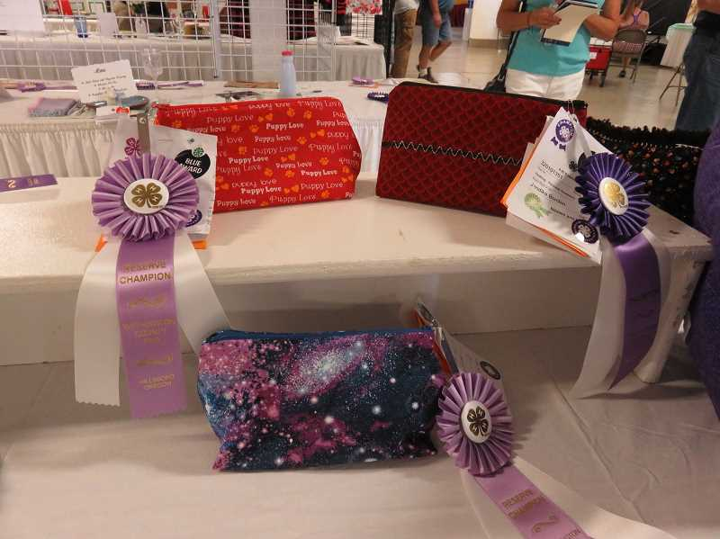 COURTESY OF SHERWOOD 4-H - Cosmetic bags made by Natalie Neumayer, Jandika Borden, and Helen Leon.