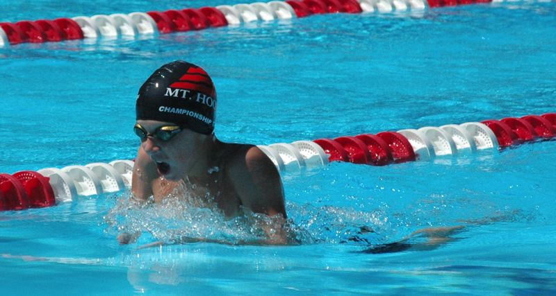 CONTRIBUTED PHOTO: MIKE WEBER - Ian Garcia competes in the breaststroke for the Mt. Hood Aquatics club last weekend.
