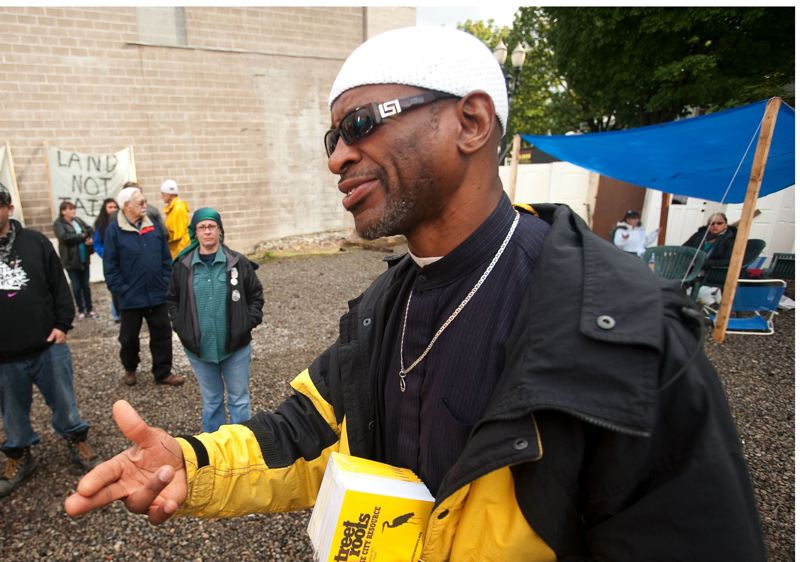 PORTLAND TRIBUNE FILE PHOTO - Homeless advocate Ibrahim Mubarak at the former site of the Right 2 Dream Too homeless camp.