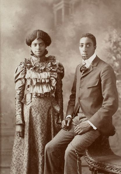 COURTESY: PORTLAND ART MUSEUM - The Portland Art Museum acquired an extensive album of photos of African Americans, including this portrait of a Missouri couple around 1898 (above), and it'll be on display through Dec. 3. Curator Julia Dolan says it's 'rare' to have such a large collection of such photos in one place.