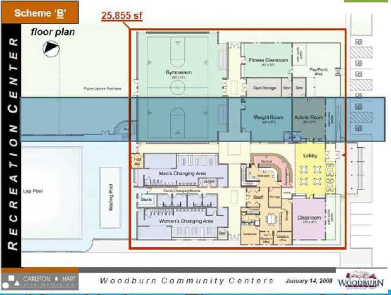 COURTESY RENDERING CITY OF WOODBURN - The dream of a new community center has been long-held by the city of Woodburn and its residents. This rendering from 2008 shows a possible floor plan for the expansion of the aquatic center, a project that's coming closer to reality with the recent securing of lottery revenue bonds by the state legislature.