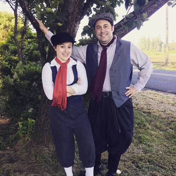SUBMITTED PHOTO - Jason Katz, right, plays Bert and his daughter, Samantha Katz, plays Fannie in Canby Community Theatre's ongoing production of 'Mary Poppins, The Broadway Musical.'