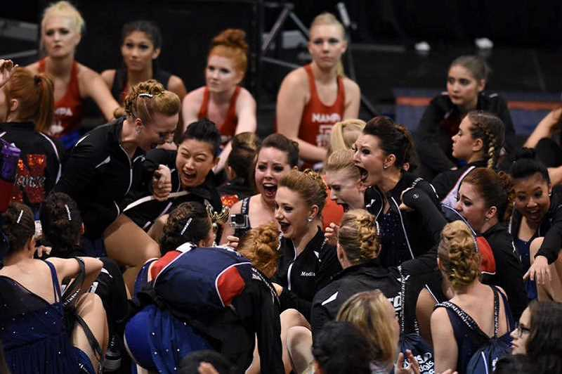 TIMES FILE PHOTO - Tigard High's Tigerettes react to winning first place in a national competition in 2016. They'll be returning to the same competition in February.
