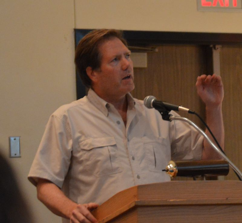 Jim Hoffman, owner of Hopville Farms, speaks to Columbia County commissioners Wednesday, Aug. 2.