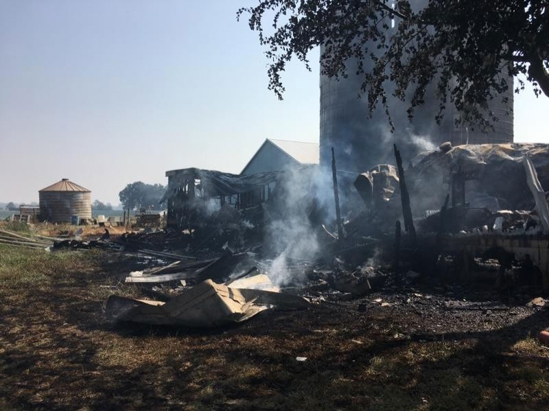 PHOTO COURTESY OF PORTLAND FIRE AND RESCUE - A fire on Sauvie Island destroyed this mobile home on Friday, Aug. 4. No one was injured in the fire, but several people lost personal belongings in the blaze
