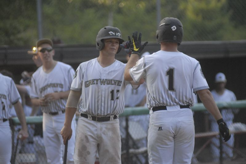 GRESHAM OUTLOOK: MATT RAWLINGS - Jackson Overund (left) congratulates Alec de Watteville (right) after de Watteville's home run in the first inning