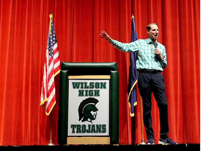 PAMPLIN MEDIA GROUP: LYNDSEY HEWITT - Oregon U.S. Sen. Ron Wyden told a town hall Saturday, Aug. 5, that he supported a proposed law that would make it illegal for American companies to join a foreign government's boycott of the nation of Israel.