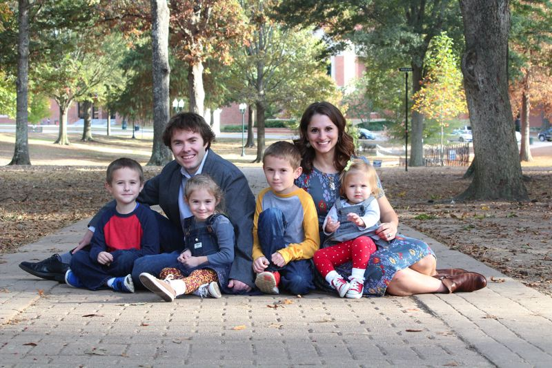 CONTRIBUTED PHOTO - Sandy High graduates Paul Loprinzi and Kristina (Oster) are raising their family of four near the Ole Miss campus in Oxford, Miss.