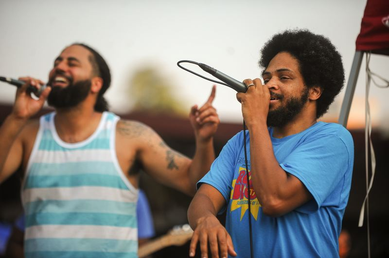 CONTRIBUTED - Portland hip-hop fusion band Speaker Minds singers Randal Wyatt and Desmond Spann, AKA DLUX the Light, perform Friday at a Portland Parks and Recreation Summer Free For All at the Rosewood Initiative in Rockwood.