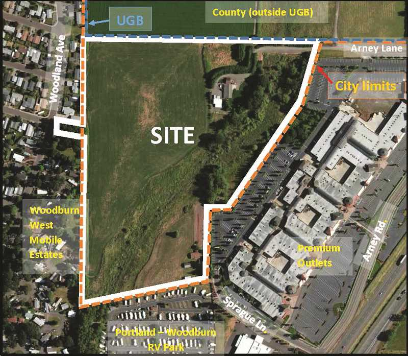 COURTESY MAP CITY OF WOODBURN - The site being considered for the apartment complex is located west of the Woodburn Premium Outlets and east of the Woodburn West Mobile Estates, outside Woodburn city limits and within the newly redrawn Urban Growth Boundary.