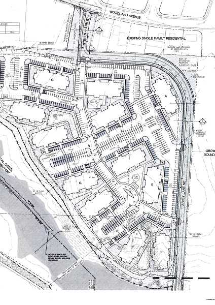 COURTESY DRAWING CITY OF WOODBURN - This map, which is oriented with west at the top, shows the planned Arney Lane route that would be the main roadway near the apartment complex. Arney Lane, currently a dead end, would be extended to connect to Woodland Avenue through Steven Street.