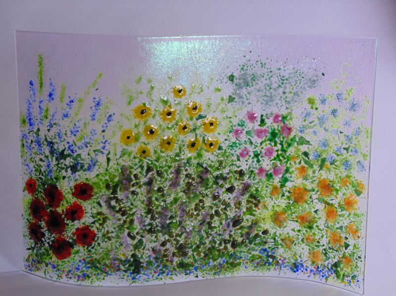 SUBMITTED PHOTO - 'English Garden' is a glass piece by Kathy Kollenburn, who is showing her work at the Three Rivers Artist Guild's Festival of the Arts.
