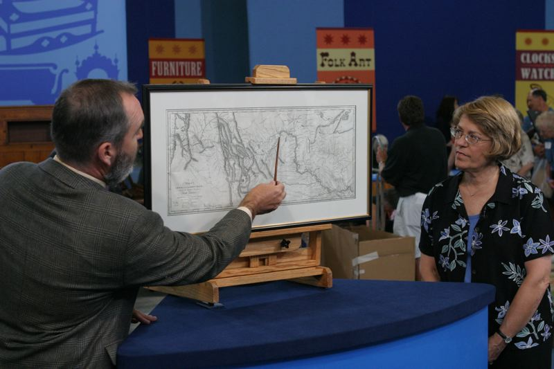 COURTESY PHOTO: WGBH - An appraiser gave details to a guest in Portland during season 9 in 2004. He told her that the map her family had inherited while living in Philadelphia was a legitimate Lewis and Clark map from 1814, worth up to $50,000. When the map was released in 1814, it caused every map to be redrawn.