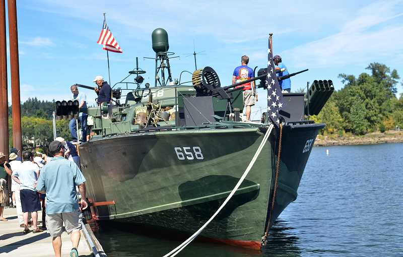 REVIEW FILE PHOTO: VERN UYETAKE - PT 658, the only World War II patrol torpedo boat still operating under the power of its original engines, is expected to return to Foothills Park on Aug. 26 for the 18th annual Oswego Heritage Council Collector Car & Classic Boat Show.