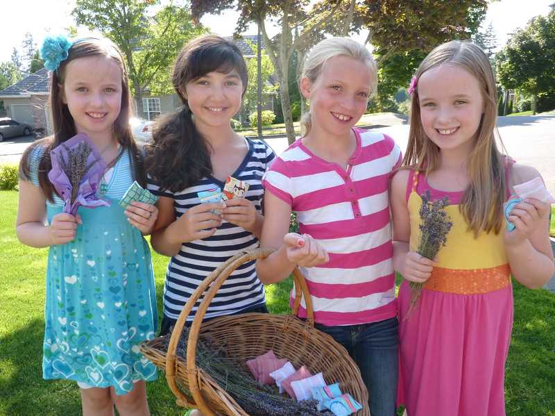 SUBMITTED PHOTO: MICHELLE BOMBET-MINCH - The original lavender girls in 2009 (from left): Emily Henning, Sydney Steinberg, Lauren Jones and Lauren Henning.