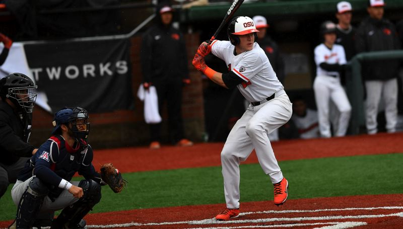 SCOBEL WIGGINS: OREGON STATE UNIVERSITY - Zak Taylor, a 2015 Sherwood High School graduate, gets ready to take a swing during play this season for the Oregon State University baseball team.