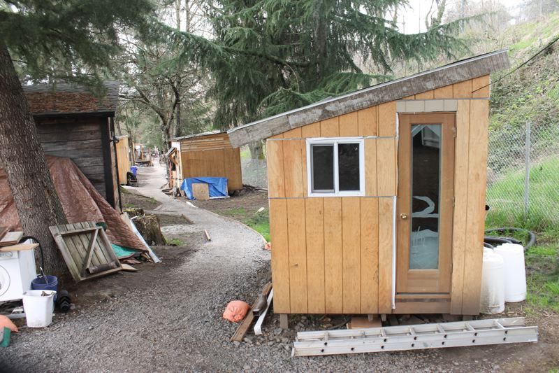 TRIBUNE PHOTO: LYNDSEY HEWITT - A tiny house at Hazelnut Grove, in the Overlook neighborhood.