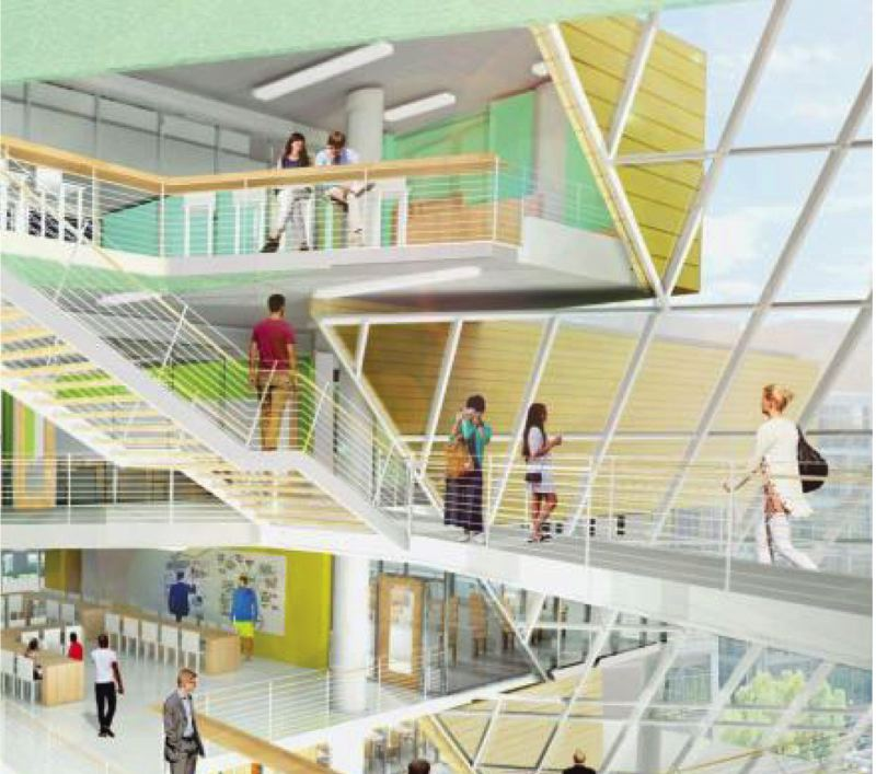 COURTESY: SRG PARTNERSHIP - An artist's rendering of the new PSU Business School atrium and addition shows the color scheme and the light-filled spaces.