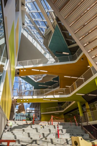 PAMPLIN MEDIA GROUP: JONATHAN HOUSE - The five story atrium may look like a parkour paradise but it is intended as a place to connect students and faculty and has lounge spaces for reading and talking.