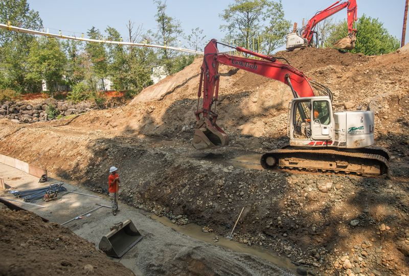 OUTLOOK PHOTO: JOSH KULLA - Work continues at the Stark Street culvert rebuild in Troutdale.