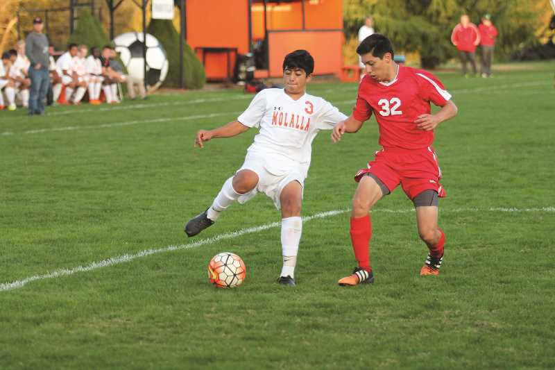 PIONEER PHOTO: CONNER WILLIAMS - Molalla junior Miguel Maldonado battles with a Corbett defender during a home game last season.