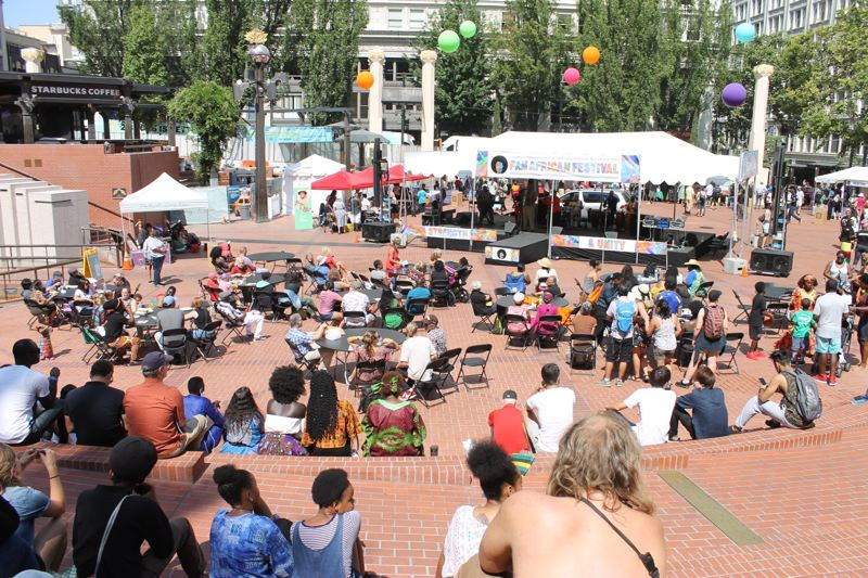 TRIBUNE PHOTO: LYNDSEY HEWITT - Hundreds visited Pioneer Courthouse Square on Saturday for the first-ever Pan Africa festival.