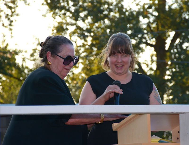 COLUMBIA LEARNING CENTER PHOTO - Sen. Betsy Johnson (left) and Kyla Tompkins address the crowd at the sold out Black Tie & Blue Jeans fundraising event last Saturday, Aug. 5 in Deer Island.
