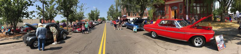 OUTLOOK PHOTO: JOSH KULLA - Rockin' Round the Block filled downtown Gresham with classic cars Saturday in this view looking north down Main Avenue.