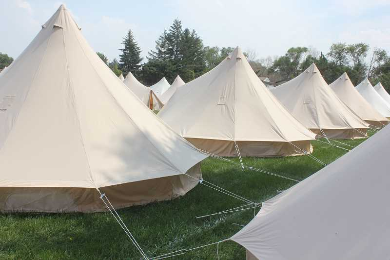 SUSAN MATHENY/MADRAS PIONEER - Large yurt tents have gone up at the SolarFest site at the Jefferson County Fairgrounds.