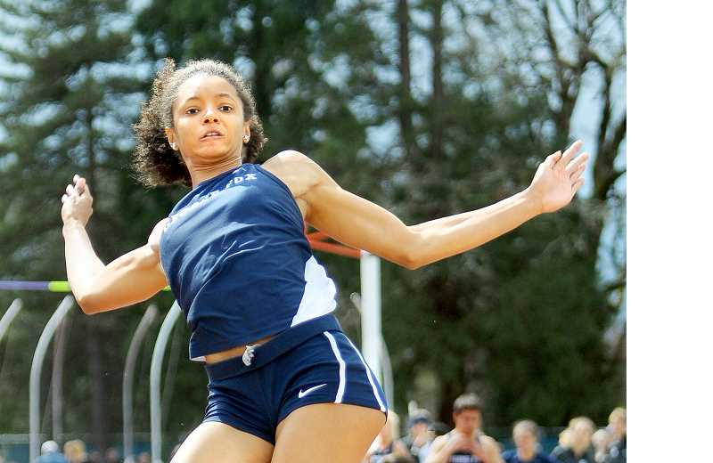 GRAPHIC FILE PHOTO - Track & field star Asia Greene was one of two George Fox University athletes to be named to be named a Northwest Conference first team scholar athlete for 2016-2017. Sophomore Caleb Dalzell, who competes in football and track & field, was the other Bruin to earn the honor.