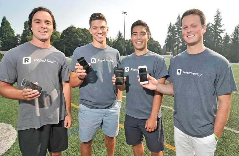 REVIEW PHOTO: VERN UYETAKE - Lakeridge graduate Ben Swinford founded an app, Rapid Replay, and using it will support local athletics programs. The app makes video of sports games more readily available to all. From left: Chris Barman, Nick Busto, Thomas Iwasaki and Ben Swinford.