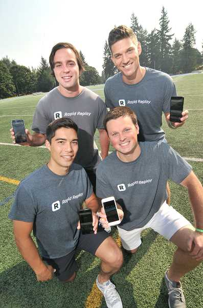 REVIEW PHOTO: VERN UYETAKE - Every time you upload a video, it will benefit Lakeridge or Lake Oswego athletics departments. From left: front row, Thomas Iwasaki and Ben Swinford; and back row, Chris Barman and Nick Busto.