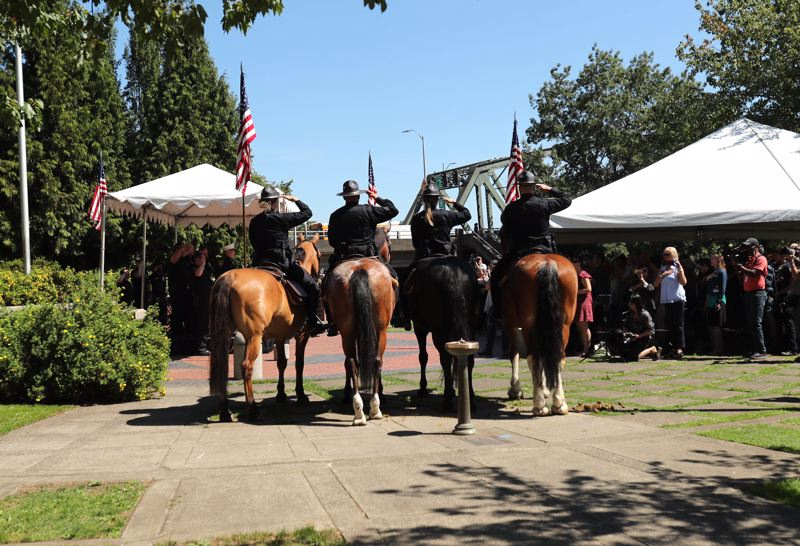 PAMPLIN MEDIA GROUP: JAIME VALDEZ - The Portland Police Bureau's Mounted Patrol Unit took its final ride Wednesday, Aug. 16. The patrol was dropped from the city budget and its last official day was June 30.