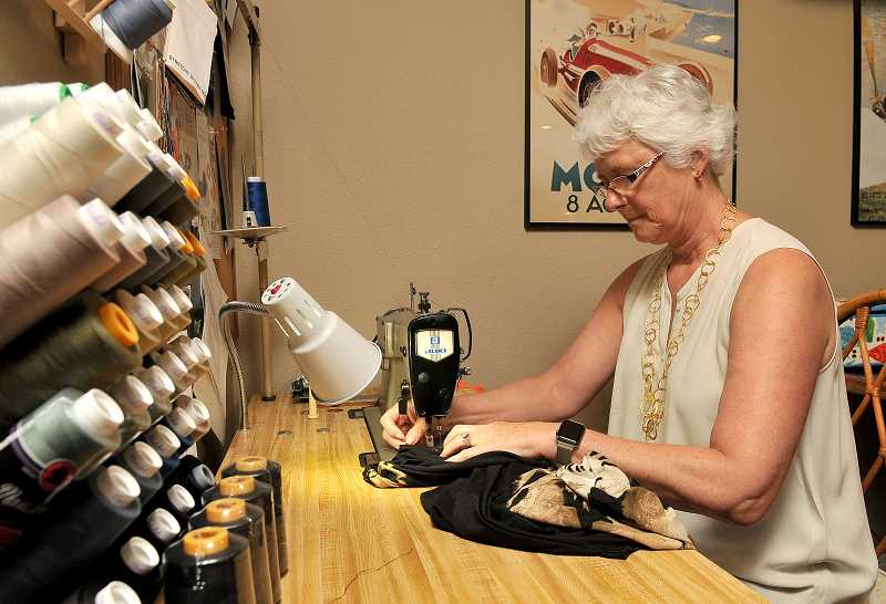 Joan Robbins began her sewing and design career by taking a beginning sewing class about three years ago. Now she has launched Alton Oak, a clothing line that is comfortable and made of easy-care fabrics.