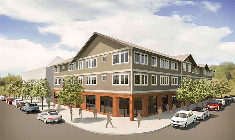 COURTESY RENDERING - A rendering shows the proposed layout of a three-story, mixed-use development planned in Fairview.