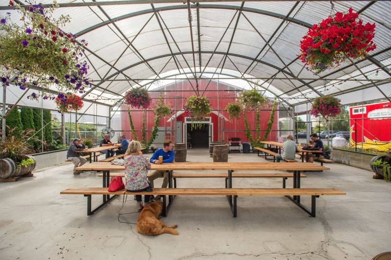 OUTLOOK PHOTO: JOSH KULLA - Level Beer features an enclosed greenhouse seating area for customers enjoy their beer and food from a trio of food carts.