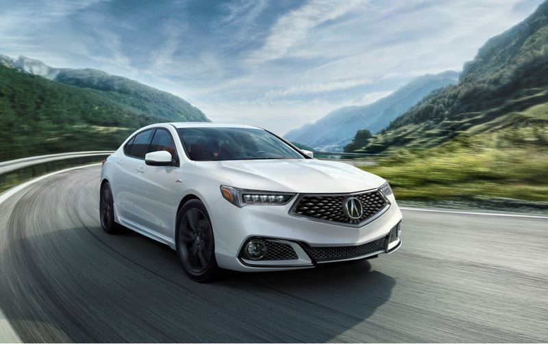 HONDA NORTH AMERICA - Acura has restyled the 2018 TLX to feature bolder lines and new mesh grill. The A-Spec (shown here) includes special trim.