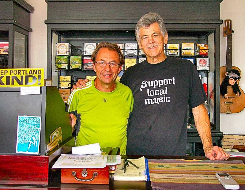 RITA A. LEONARD - At nonprofit Artichoke Musics new site at S.E. 20th and Powell, Operations Executive Bob Howard mans the front counter with volunteer Don Wheatley.