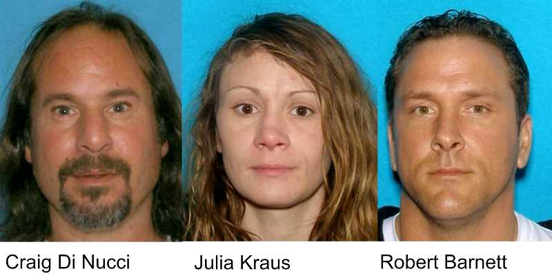 PHOTOS COURTESY OF THE MOLALLA POLICE DEPARTMENT - The three pictured subjects were arrested at the Molalla Les Schwab on Sunday, Aug. 20.