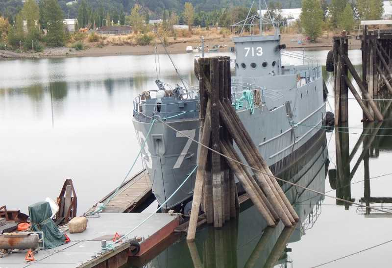 BABARA SHERMAN - Landing craft infantry ships like USS LCI (L)-713 were built to transport and land up to 200 troops on beaches at Allied invasion sites during WWII; this one is a later model where the bow splits open and a ramp is lowered.