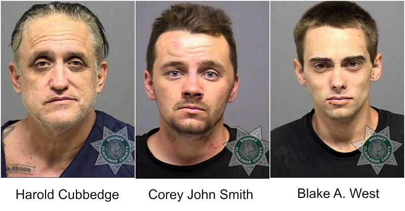 PHOTOS COURTESY OF CLACKAMAS COUNTY SHERIFF'S OFFICE - The three suspects were arrested and charged with unauthorized use of a motor vehicle after a police pursuit on Tuesday.