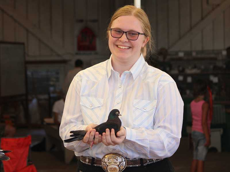 TIDINGS PHOTO: SAM STITES - Caitlyn McCabe holds her pigeon, an ash red parlor roller, during the 4-H pigeon showmanship competition at the Clackamas County Fair on Wednesday, Aug. 16.