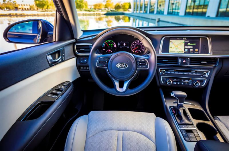 KIA MOTORS AMERICA - The interior of the 2017 Kia Optima Hybrid is room, well designed and can be loaded up with luxury levels features.